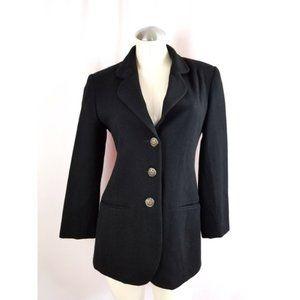 Bloomingdale's Size 4P Black Blazer Wool